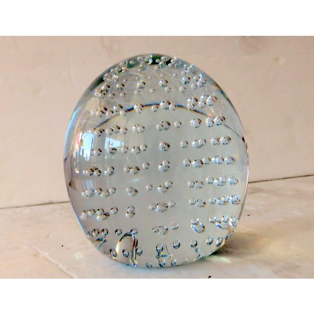 Mid-Century Modern Vintage Murano Bubble Glass Orb For Sale - Image 3 of 3