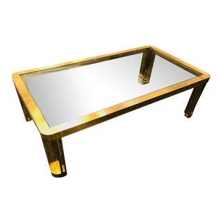 Amazing Italian Brass Coffee Table With Design For Sale