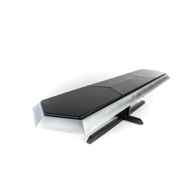 Contemporary Topher Gent Bench No. 10 Steel Leather Cantilever Bench For Sale In Providence - Image 6 of 9