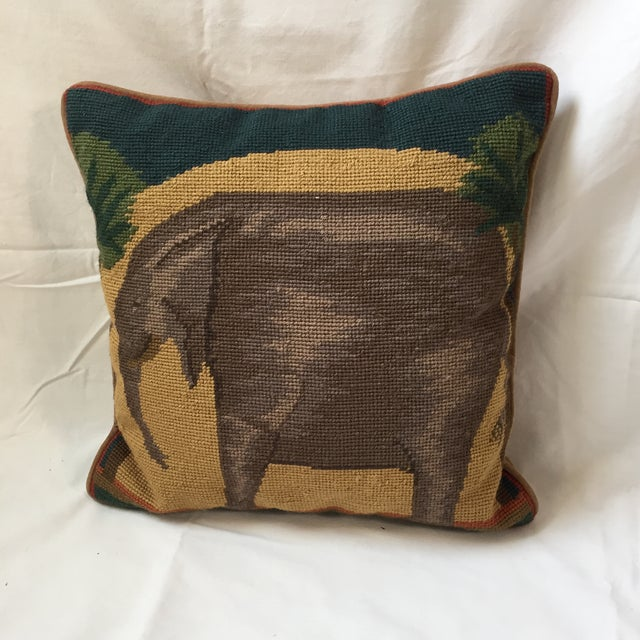 Needlepoint Elephant Accent Pillow - Image 6 of 7