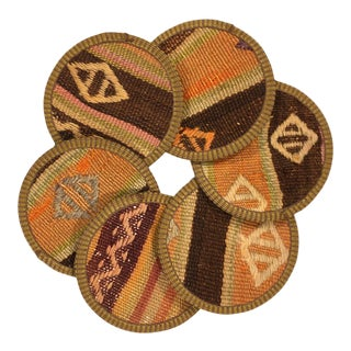 Kilim Coasters Set of 6 - Dilimleri For Sale