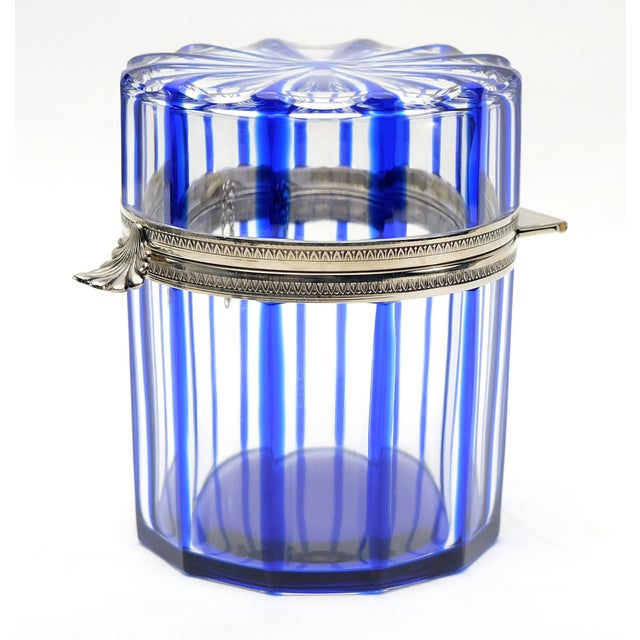 2010s Cobalt Blue and Cut Crystal Lidded Box by Cristal Benito, France For Sale - Image 5 of 9
