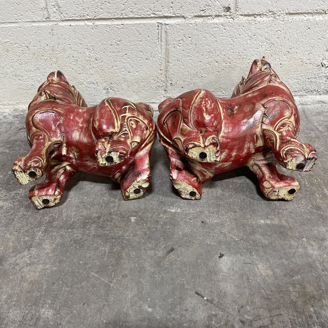 1990s Solid Wood Carved Foo Dogs - a Pair For Sale - Image 5 of 10