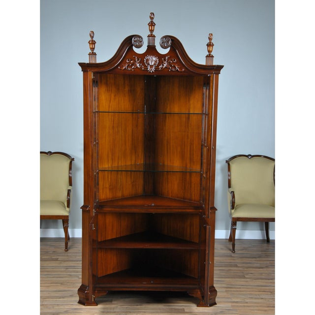 Chippendale Carved Mahogany Corner Cabinet For Sale - Image 3 of 8