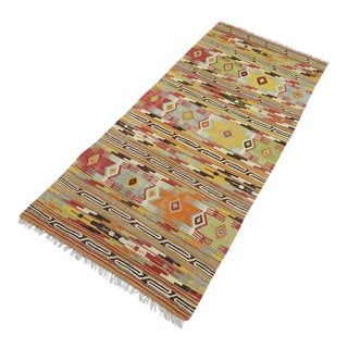 "Antique Turkish Kilim Runner-3'3'x7'5"" For Sale"