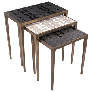 Set of 3 Klimt Nesting Tables in Shagreen, Shell, & Brass by R&y Augousti For Sale