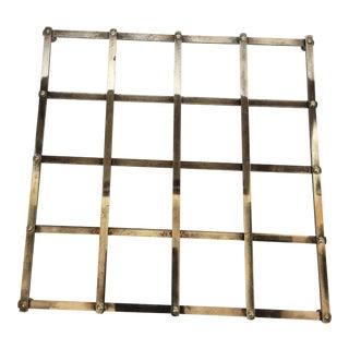 Vtg Mid Century Modern Italian Silverplate Square Trivet For Sale