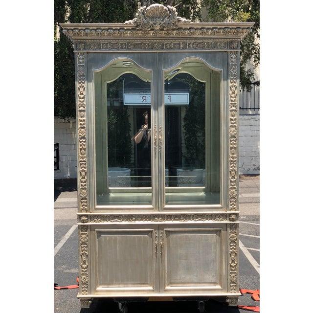 2000s Huge Carved Designer Silver-Leaf Showcase Cabinet For Sale - Image 5 of 5