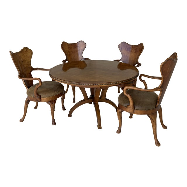 Century for Robb & Stucky Burled Walnut 'Gaudí' Style Dining Set - 5 Pieces For Sale