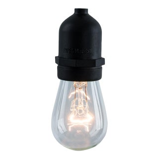 48' Decorative Outdoor String Lights with Clear Incandescent 11 Watt Bulbs in Black For Sale