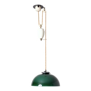 Green Dome Glass Pulley Lamp, Switzerland For Sale