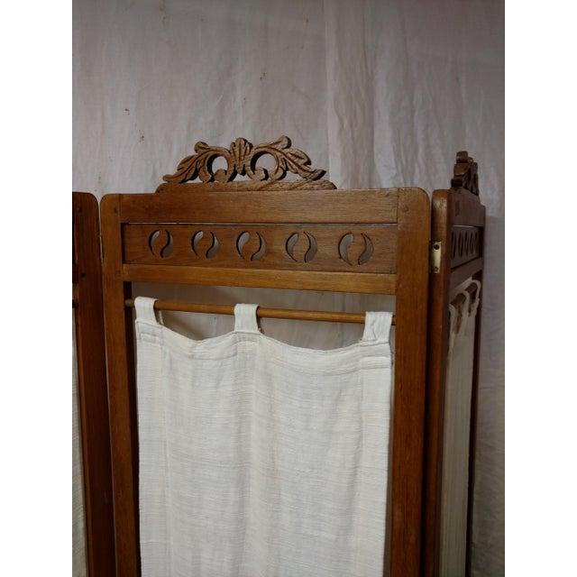 Vintage Carved Wood Room Screen Linen Panels For Sale - Image 10 of 12