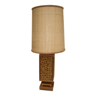 Mid Century Bamboo Table Lamp with Shade For Sale