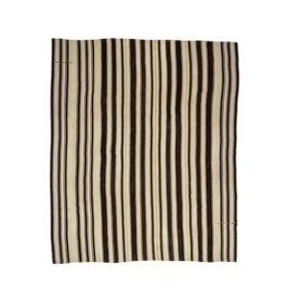 1960s Vintage Black & White Striped Kilim Rug- 8′3″ × 9′8″ For Sale