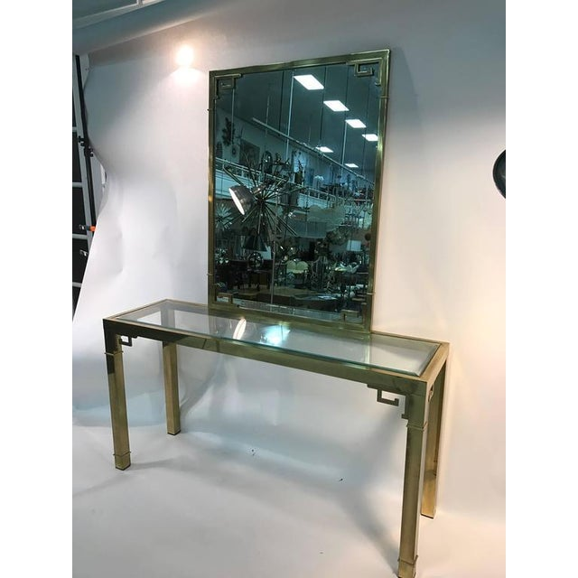 Italian STUNNING SOLID BRASS ITALIAN MIRROR AND CONSOLE TABLE WITH GREEK KEY DESIGN For Sale - Image 3 of 8