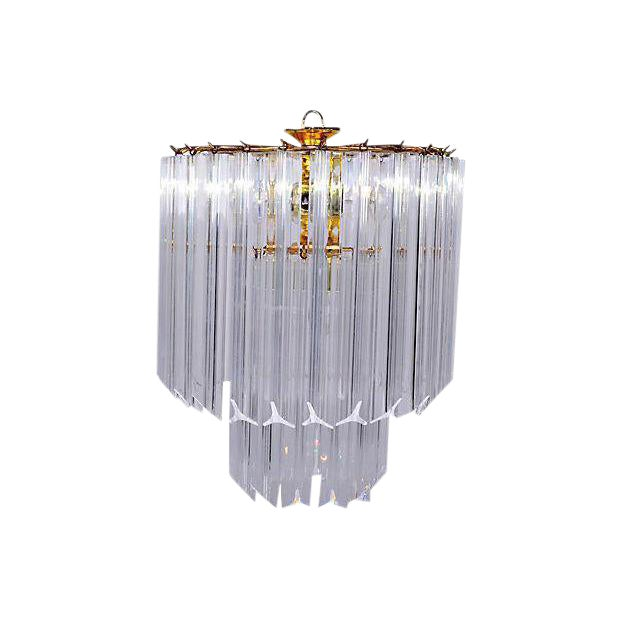 Vintage 5 Light Brass and Lucite Chandelier with Canopy For Sale