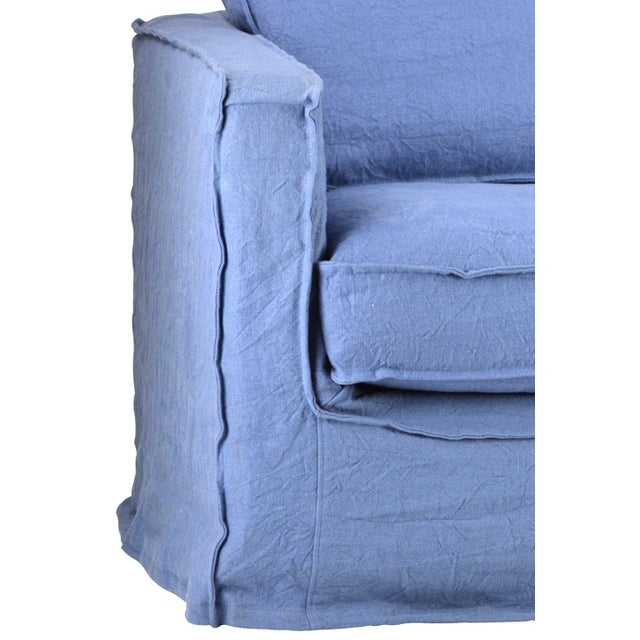 Cotton arm chair with blue slip cover. Maximum comfort with boho style.