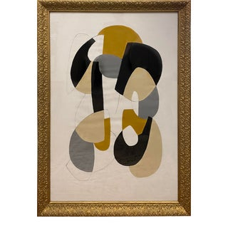 Contemporary Abstract Mid-Century Inspired Framed Painting For Sale