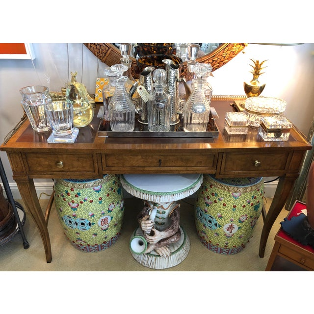 Vintage French Style Brass Gallery Writing Desk by Milling Road for Baker For Sale - Image 12 of 13