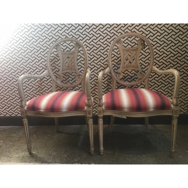 Pair of Gustavian Style chairs in a Castel Fabric