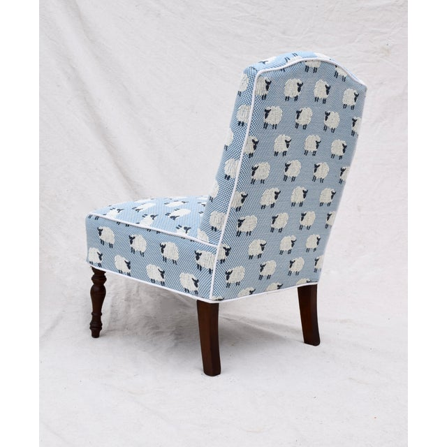 """Scalamandre, """" Ewe Too in Blue"""" Petite Antique Slipper Chairs For Sale In Philadelphia - Image 6 of 13"""