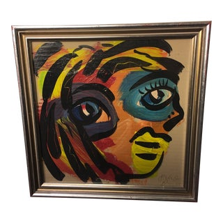 1960s Peter Keil Colorful Abstract Face Painting For Sale
