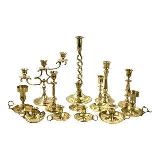 Solid Brass Candle Holders Lot of Mixed Sizes Shapes Christmas Wedding Party - Set of 13 For Sale