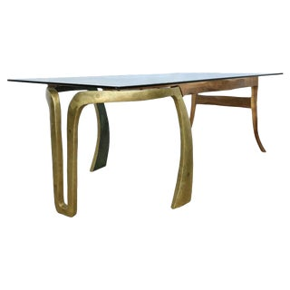 Brutalist Studio Sculptural Bronze and Wood Dining Table For Sale