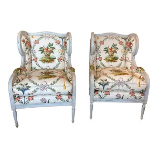 Custom Down Wingback Chairs - a Pair For Sale