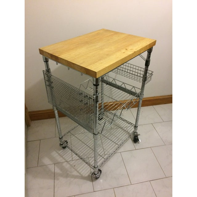 Kitchen Cart With Wood Butcher Block Top - Kitchen Island / Work Table -Wood butcher block top -Steel construction -Chrome...
