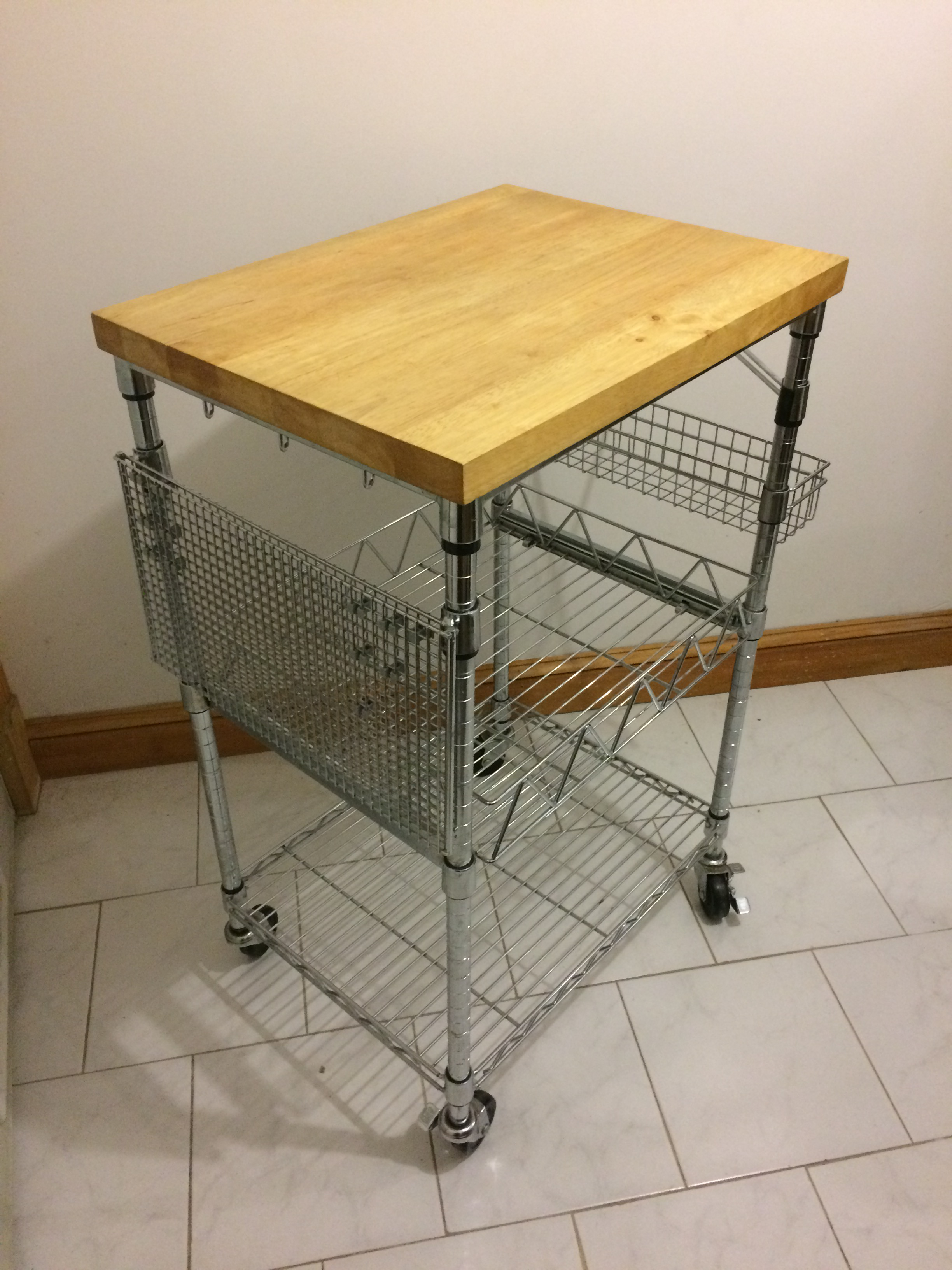 Kitchen Cart With Wood Butcher Block Top   Kitchen Island / Work Table   Wood Butcher