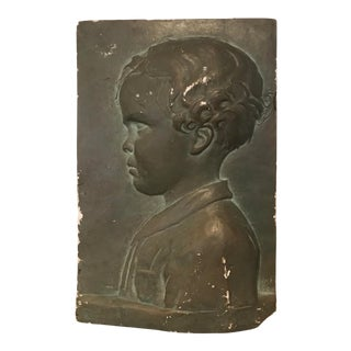 1930s Portrait Relief of a Boy For Sale