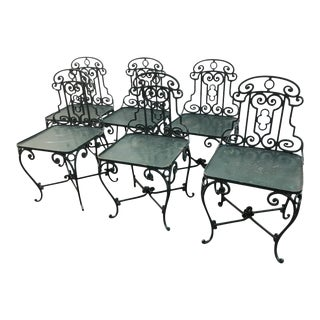 1940s French Wrought Iron Garden Chairss - Set of 6 For Sale