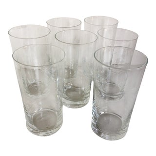 Norataki Sasaki Crystal Wheat Etched Cocktail Glasses - Set of 7