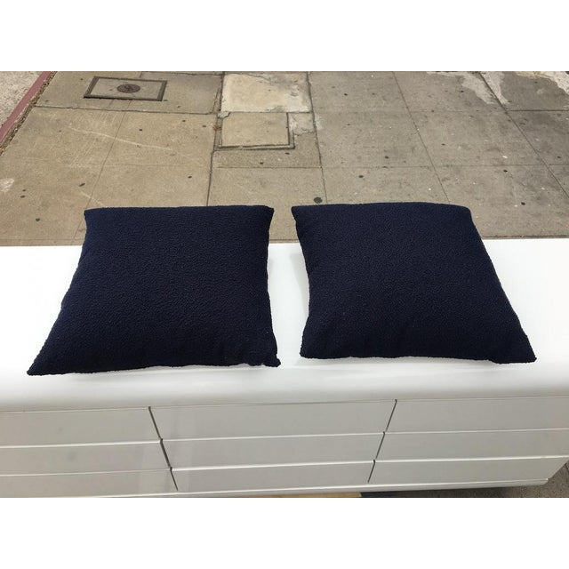 2010s Custom Navy Curly Boucle Pillows - A Pair For Sale - Image 5 of 8
