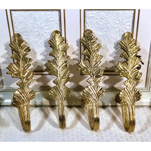 Brass Leaves Curtain Tie Backs - Set of 4 For Sale In Phoenix - Image 6 of 6