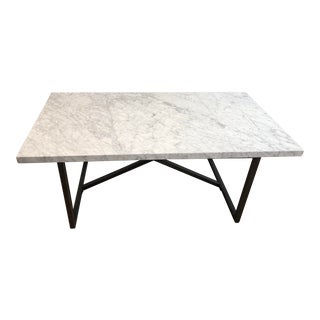 Italian Restoration Hardware Marble Dining Table For Sale