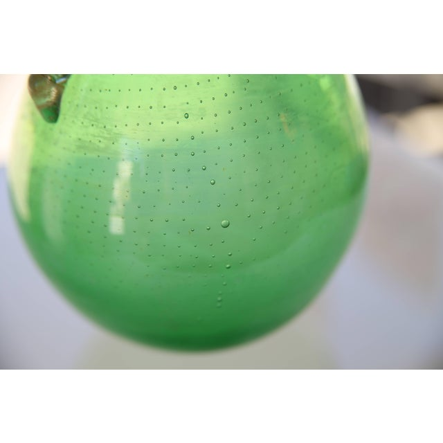 Glass 1930s Art Deco Barovier E Toso Controlled Tiny Bubbles Green Gold Murano Glass Vase For Sale - Image 7 of 10