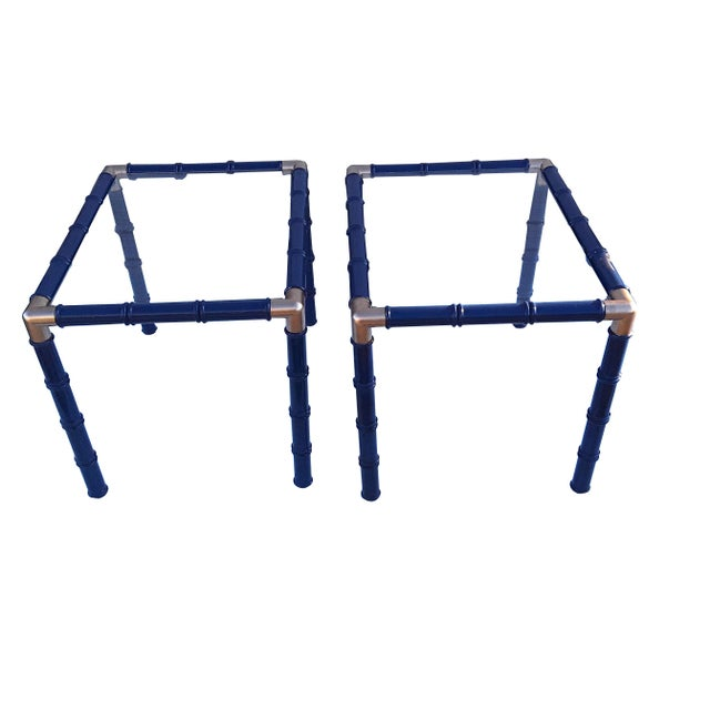 Pair Mid Century Faux Bamboo Glass Side/End Tables Lacquered Blue Pair Faux Bamboo Tables For Sale In Philadelphia - Image 6 of 6