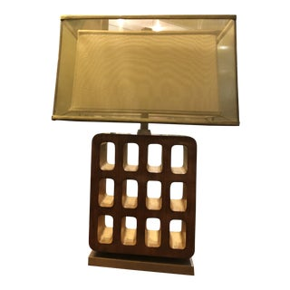 Mid-Century Style Walnut and Gilt Table Lamp With Custom Dual Frame Shade For Sale