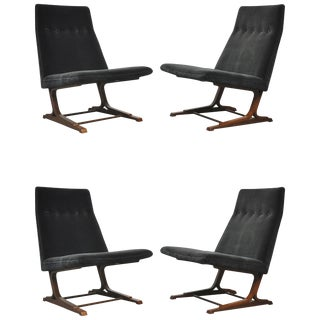 Rare Dunbar Cantilever Lounge Chairs by Roger Sprunger, Model 480 For Sale