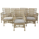 Image of Bar Harbor Rattan Wicker Dining Armchairs - Set of 8 For Sale