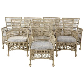 Bar Harbor Rattan Wicker Dining Armchairs - Set of 8 For Sale
