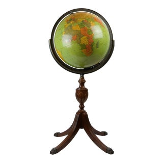 Standing Glass and Wood Globe, Mid-20th Century For Sale
