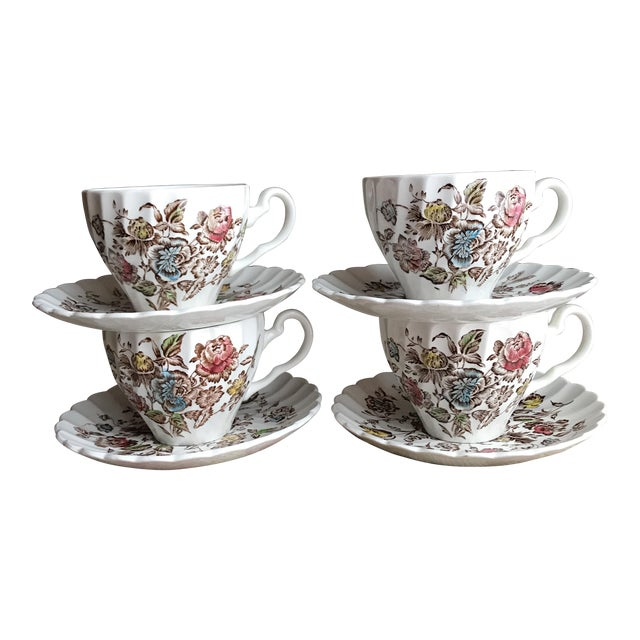 4 Vintage English Ironstone Cups & Saucers - 8 Pieces For Sale