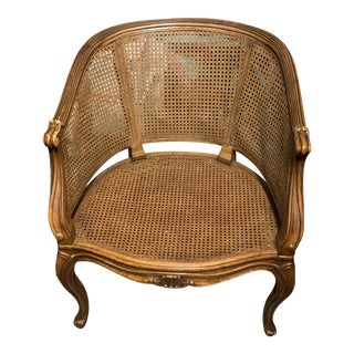 Vintage Louis XV Style Caned Back Bergere Chair For Sale