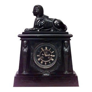 Egyptian Black Marble Sphinx Mantel Clock For Sale