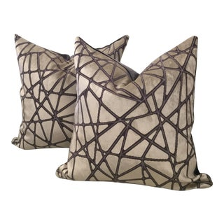 Holly Hunt Silver Streak Silk Velvet Pillows - A Pair
