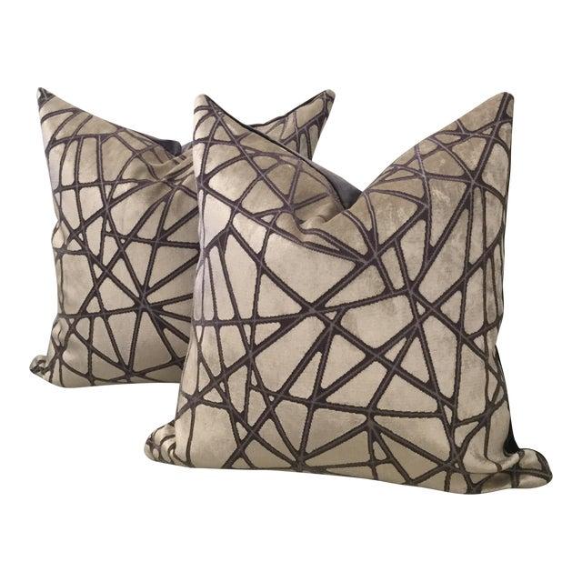 Holly Hunt Silver Streak Silk Velvet Pillows - A Pair For Sale