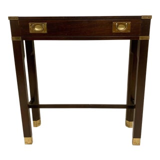 Petite Campaign Style Console Table For Sale